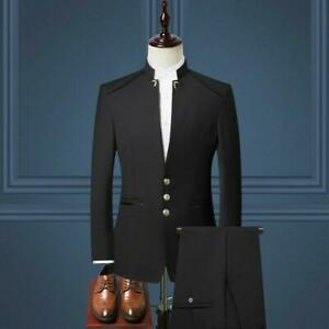 Men Chinese tunic suit Costume Stand Collar Three Buttons Business Blazers Dress