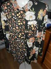 F&F  POLYESTER BLACK MULTI FLORAL LONG SLEEVE BLOUSE SIZE 18