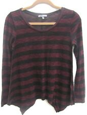 Women's Charlotte Russe Red & Black Striped Asymmetrical Hem Top Size Medium