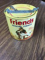 Vintage Round Friends Smoking Tobacco Tin W/ Lid, Opener & Tax Stamp Hunting Dog