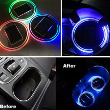 Solar Cup Holder Bottom Pad LED Light Cover Non-slip Trim Atmosphere Car Lamp