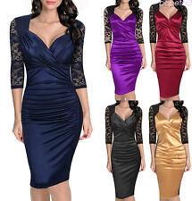 Fashion Women V-neck 3/4 Sleeve Lace Patchwork Ruffles Bodycon Slim Pencil Dress