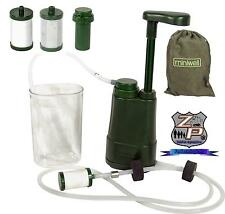 Portable Mini 3 Step Water Filter Pump - Replaceable Filters - Camping, Backpack