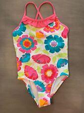 Garnet Hill Kids Size 7 Pink Hawaiian Print Floral One Piece Swim Suit