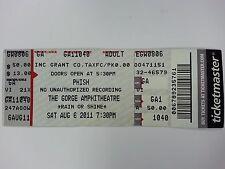 PHISH Band Festival Concert Aug 11-2011 Whole Ticket Gorge Amphitheatree WA