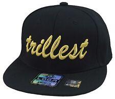 Custom Made Stylish Cool Black/Gold Trillest Hat Snapback Flat Bill Cap  3D