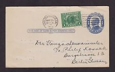 REUSED 1¢ McKINLEY POSTAL CARD TO GERMANY; UPRATED WITH 1¢ PANAMA-PACIFIC #397