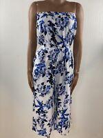 OASIS Blue & White Floral Tropical Cropped Bandeau Jumpsuit M