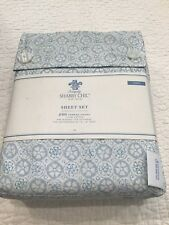 Simply Shabby Chic Blue Tonal White Floral TWIN Sheet Set