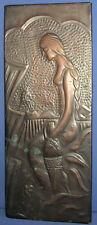 Vintage wall hanging copper plaque woman carry amphora