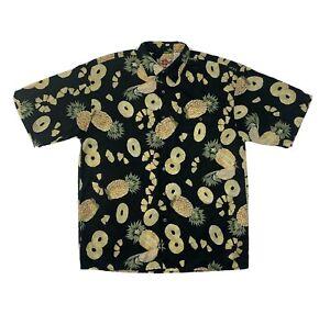 Hilo Hattie Silk Hawaiian Shirt Medium Black Short Sleeve Button Down