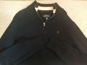 Polo Ralph Lauren Youth Boys Quarter Zip Blue Sweater Size 14-16 Large