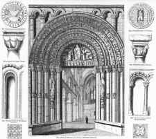 ROCHESTER CATHEDRAL. Entry, seal, recess, tile, capital 1845 old antique print