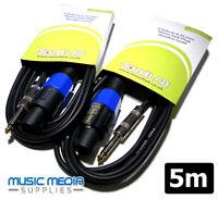 """Pair of 5m Speaker Lead Cable PA Amp DJ Karaoke (2-Pole) SPK-ON - 6.35 1/4"""" Jack"""
