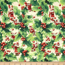 Marjolein Bastin Invierno tela de milagro Holly Santa Berry 100% algodón Espíritu Libre
