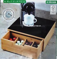 Kesper Box mit Schublade für Kaffee Kapseln oder Teebeutel, Bambus Kaffemaschine