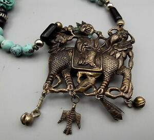 Antique Chinese Court Necklace Kylin Dragon Rider Silver Carved Turquoise Bead