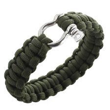 Bracelet paracord 550 avec survie d'etrave inox manille - Vert Olive Drab B9L6