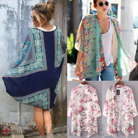 Women Floral Hippie Cardigan Coat Blouse Kimono Chiffon Cape Blazer Jacket Tops