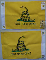 """12x18 Embroidered Gadsden Double Sided 600D Nylon Flag 12""""x18"""" Pin 2 Clips"""