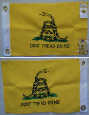 "12x18 Embroidered Gadsden Double Sided 600D Nylon Flag 12""x18"" Pin 2 Clips"