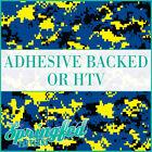 DIGITAL CAMO in Royal Blue, Yellow & Black Pattern Adhesive Vinyl or HTV