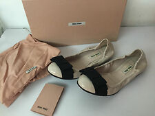 Authentic MIU MIU Nude Bow Ballet Patent Leather Shoes Flats Size 37/UK4/US7