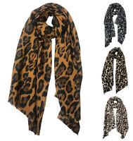 Women's Ladies Leopard Print wool Scarf Animal Wrap Party Scarves UK