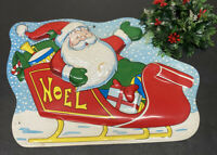 """Vintage 3D Plastic Molded Santa In Sleigh Christmas Decoration Wall Hanging 20"""""""