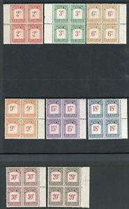 SEYCHELLES-1951 Postage Dues.  Mounted mint set in marginal blocks of 4 Sg D1-8