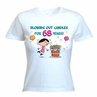 BLOWING OUT CANDLES FOR 68 YEARS 68th BIRTHDAY T-SHIRT - Gift Present -Size S-XL