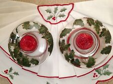 Christmas Clear Glass Holly Berry Candle Holders