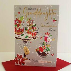 Jonny Javelin Special Granddaughter Christmas Time Card Cake Stand Robin/XSR03