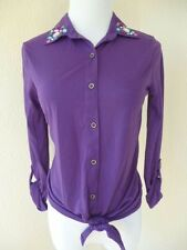 BONGO Long Sleeve Blouse Casual Purple Polyester Button Down Shirt Knit Top M