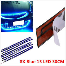 8X 15LED 30cm Car Motor Vehicle Flexible Waterproof Strip Light Blue Interior