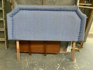 Blue & White Fabric Double Bed Headboard 4ft 6in