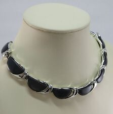 Vintage  Lisner Signed Grey Moonglow Thermoset Lucite in Silver 16 Inch Necklace