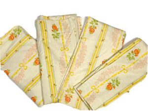 """JC Penney Home Vintage 1970s Pinch Pleat Curtains Drapes Set 4 82"""" Yellow Floral"""
