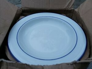 "New 4 Piece Crate & Barrel Roulette Blue Band Low Bowl 9"" 250-996 x4 Bowls USA"