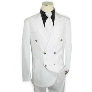 Extrema Men's Solid White Hand-Woven Double Breasted Classic Fit Suit
