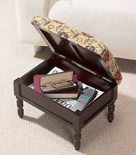Storage Footstool in a Traditional Stained Mahogany Wooden Frame by Greenhurst