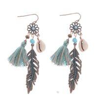 Fashion Bohemian Boho Hollow Flower Tassels Drop Shell Dangle Women's Earrings