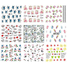 50 Sheets Mix Styles Flower Water Transfer Nail Art Tips Stickers Decals DIY Pop