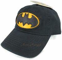BIOWORLD DC Comics BATMAN Faux Leather Logo Vintage Style Snapback Black Hat Cap
