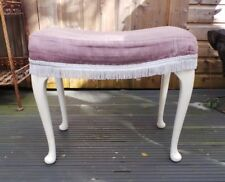 Sherborne Large Footstool Foot Rest Purple Fabric Queen Anne Legs Furniture Home