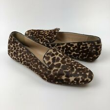 b3a83069dc7 J Crew Darby Calf Hair Loafers Size 6.5 Flats Slip On Shoes Leopard Animal  Print