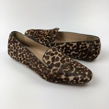 J Crew Darby Calf Hair Loafers Size 6.5 Flats Slip On Shoes Leopard Animal Print