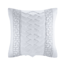 "Natori White Orchid 18x18"" Silk/Cotton Embroidery Square Pillow NA30-2990"