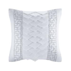 """Natori White Orchid 18x18"""" Silk/Cotton Embroidery Square Pillow NA30-2990"""