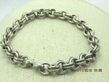 """Vintage Sterling SIlver Double LInk Bracelet, 7"""", 20.36gr. 7.5mm, 1940's-1950's"""